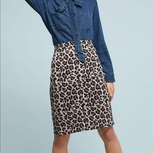 Anthropologie Maeve leopard pencil skirt